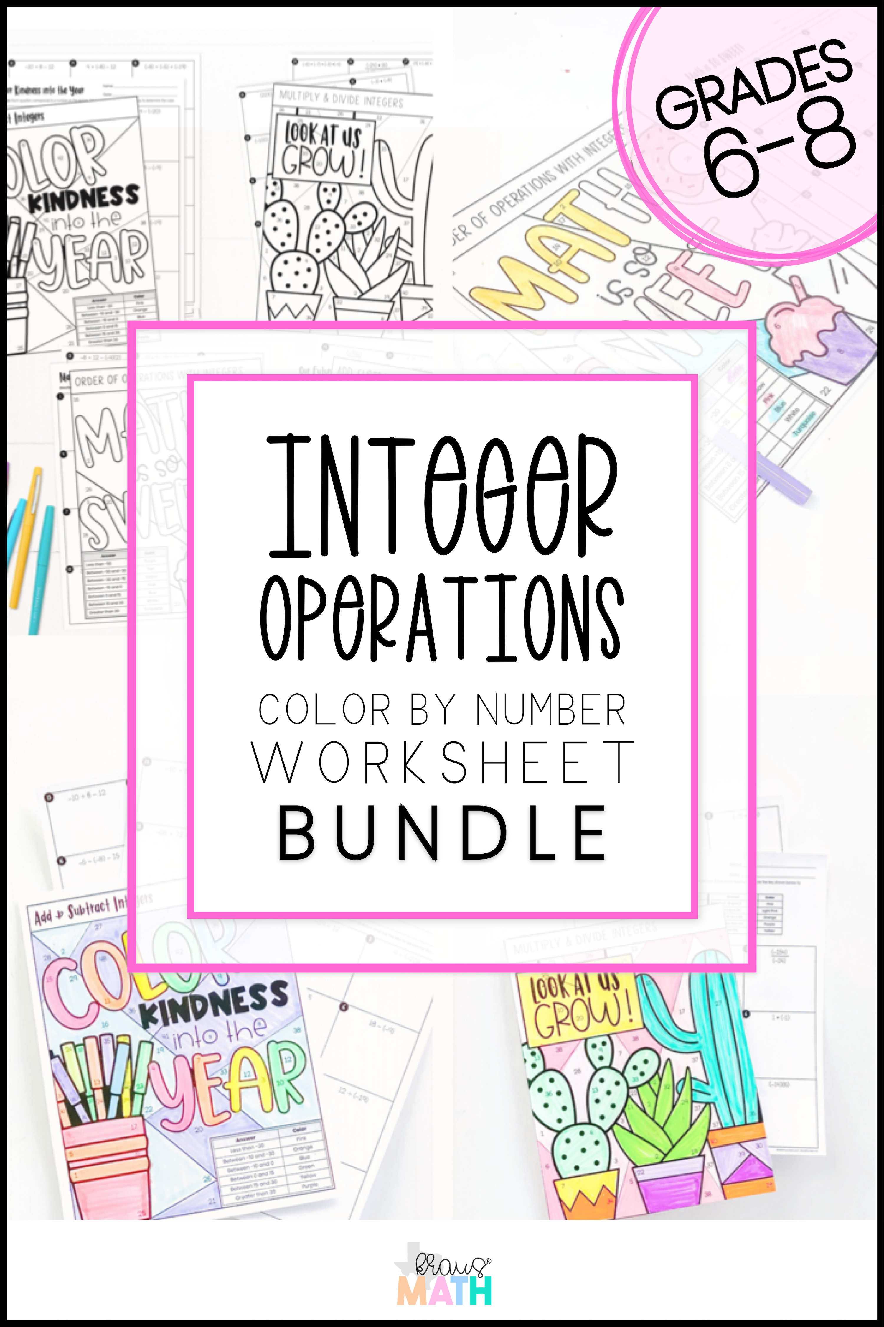 medium resolution of 6th Grade Math All Integer Operations Color by Number   Bundle   Kraus Math    Common core math middle school