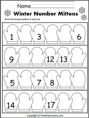 Winter Write The Missing Numbers To 20 Kindergarten Winter Kindergarten Kindergarten Worksheets