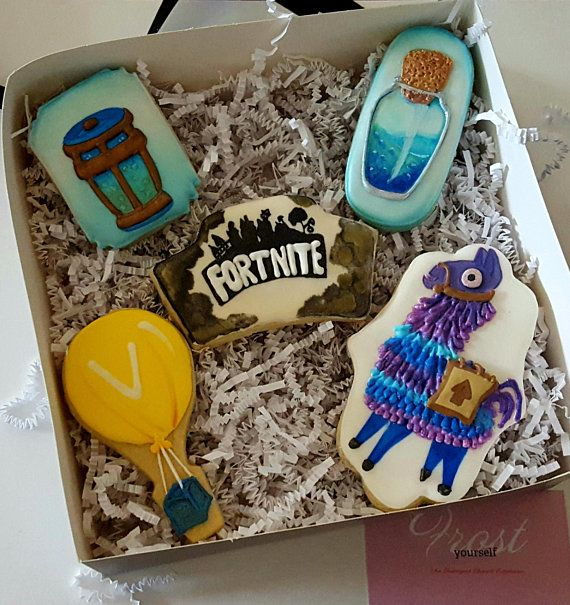 Fortnite Birthday Cookie Set Decorated Iced Custom Made