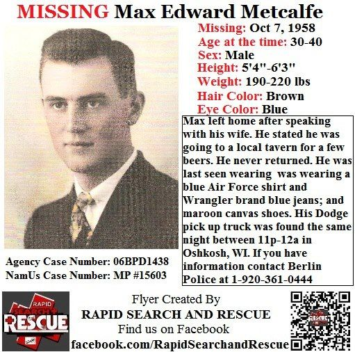 Current Missing Person flyers from Wisconsin in the 1950s To