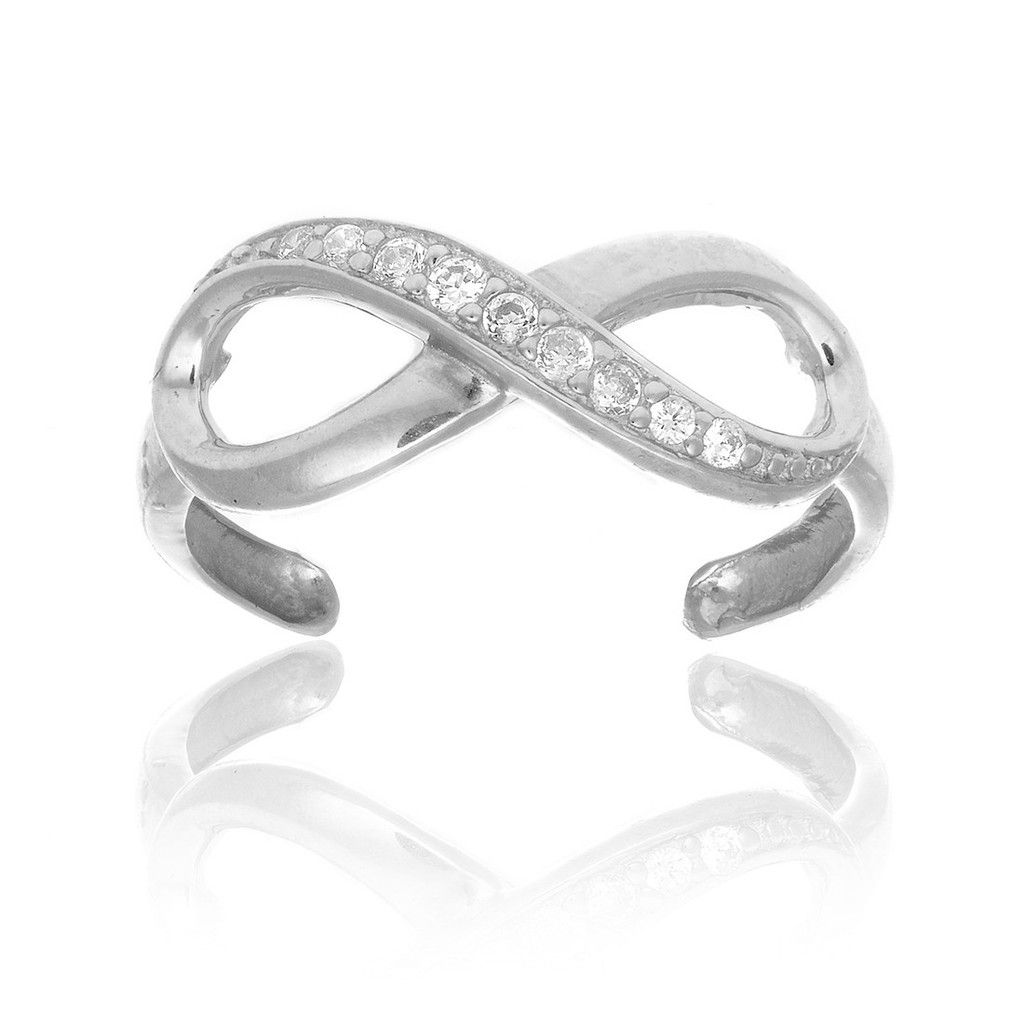 14k Solid White Gold Swirl Toe Ring Body Art Adjustable