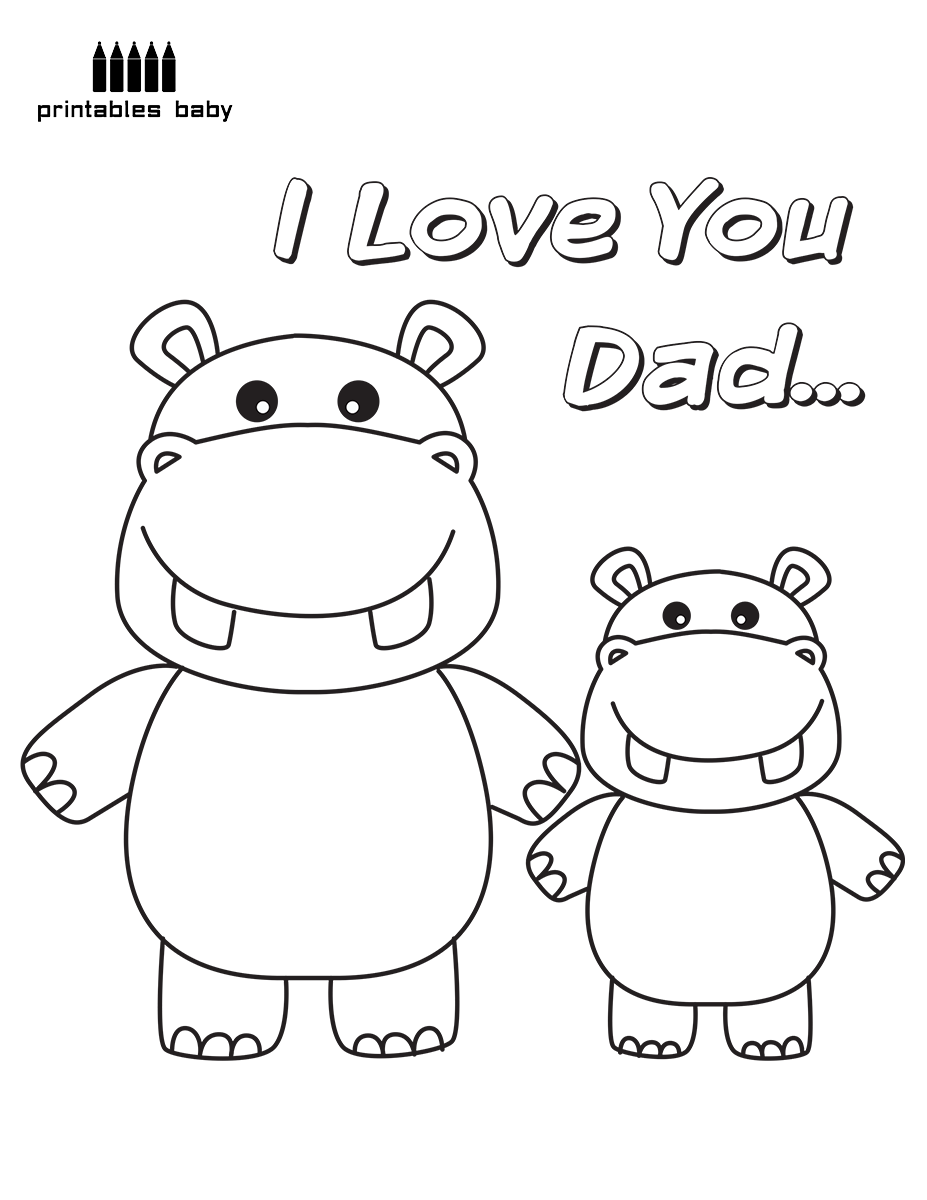Happy Father\'s Day – I love you Dad | Free Holiday Coloring Pages ...