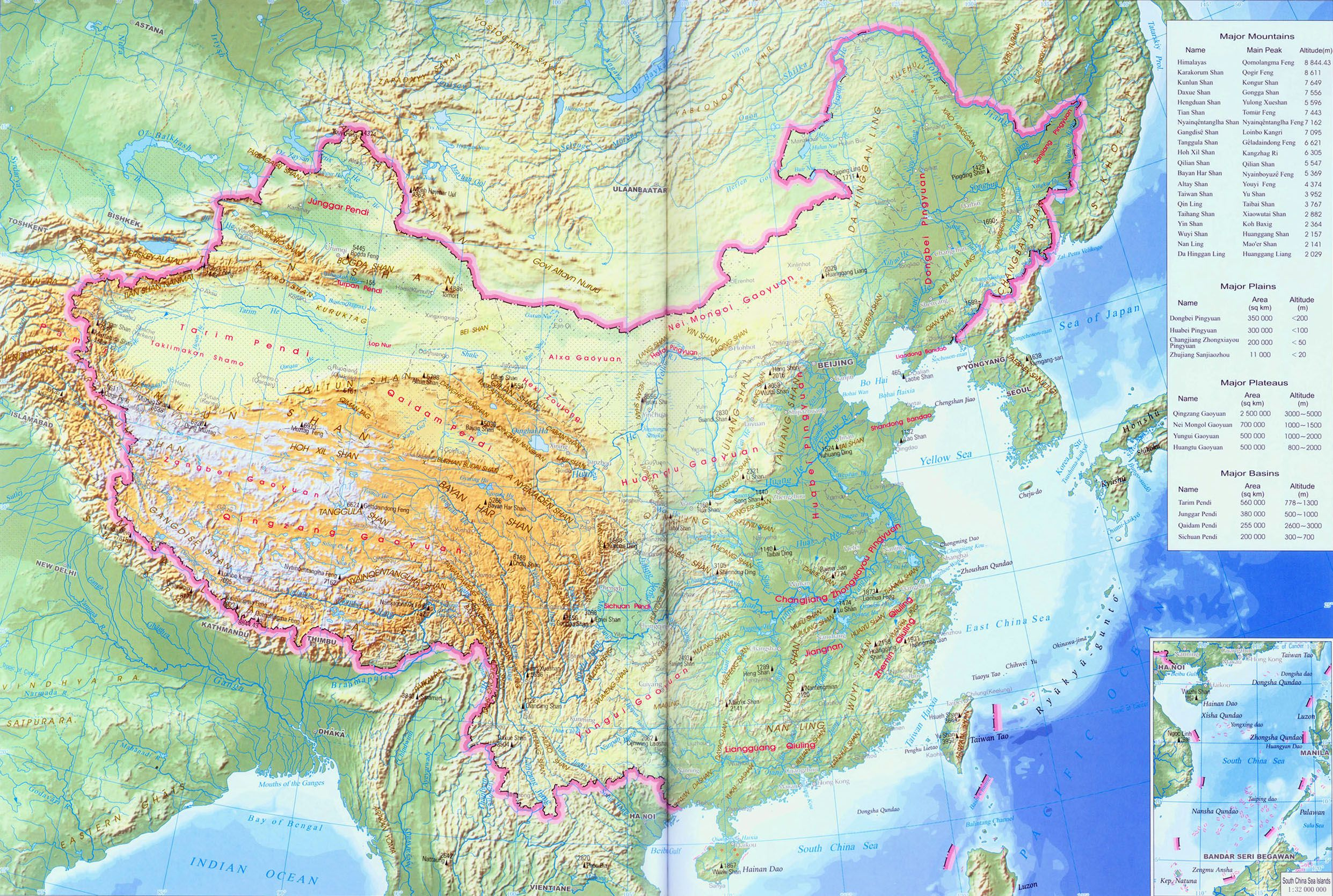 China physical map china maps pinterest china and topographic map china physical map gumiabroncs Image collections