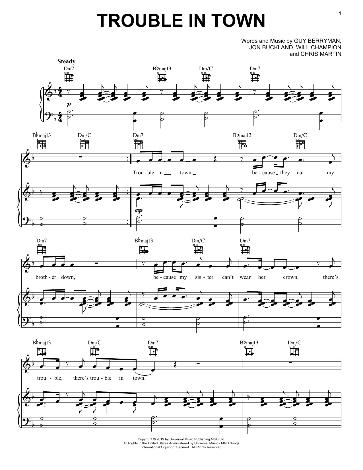 Coldplay Trouble In Town Sheet Music Notes Chords Score Download Printable Pdf In 2020 Sheet Music Notes Sheet Music Music Notes