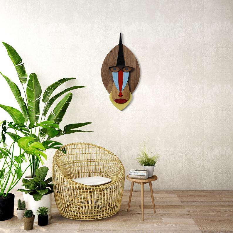 Photo of Testa di mandrillo in legno Mandrill Wall Art Mandrill | Etsy