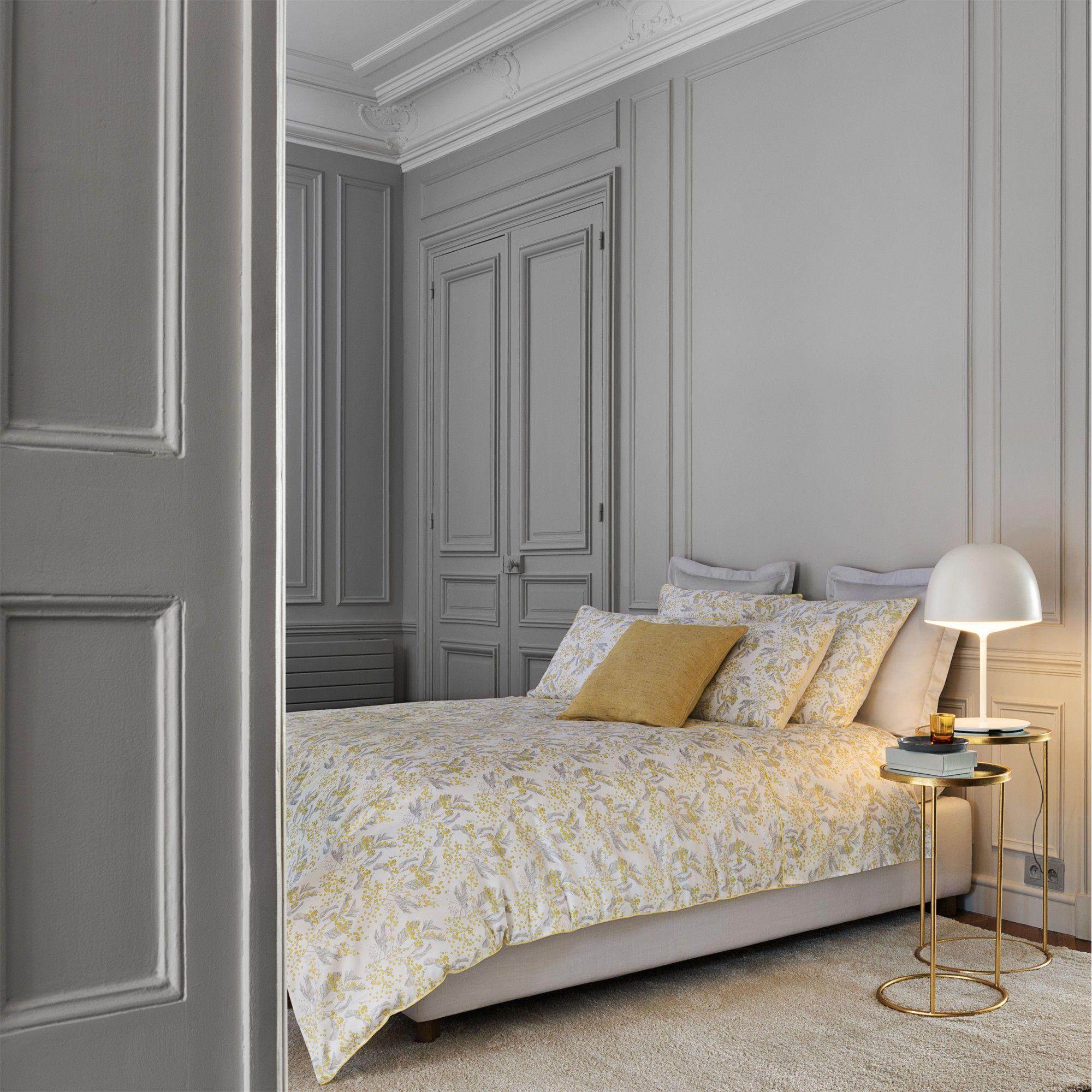 parure de lit 39 mimosa mari e 39 de descamps satin 110 fils cm 100 coton peign longues fibres. Black Bedroom Furniture Sets. Home Design Ideas