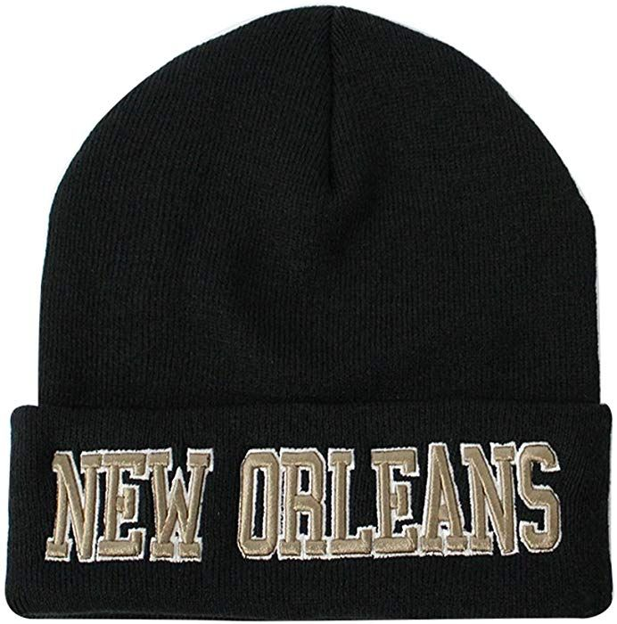 Classic Cuff Beanie Hat - Black Cuffed Football Winter Skully Hat Knit  Toque Cap Orleans at Amazon Men s Clothing store  3da63523bfd1