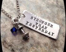 Exercise Necklace,  Weight Lifting, Exercise, cross fit, Trainer, Personal Trainer, HandStamped Jewelry