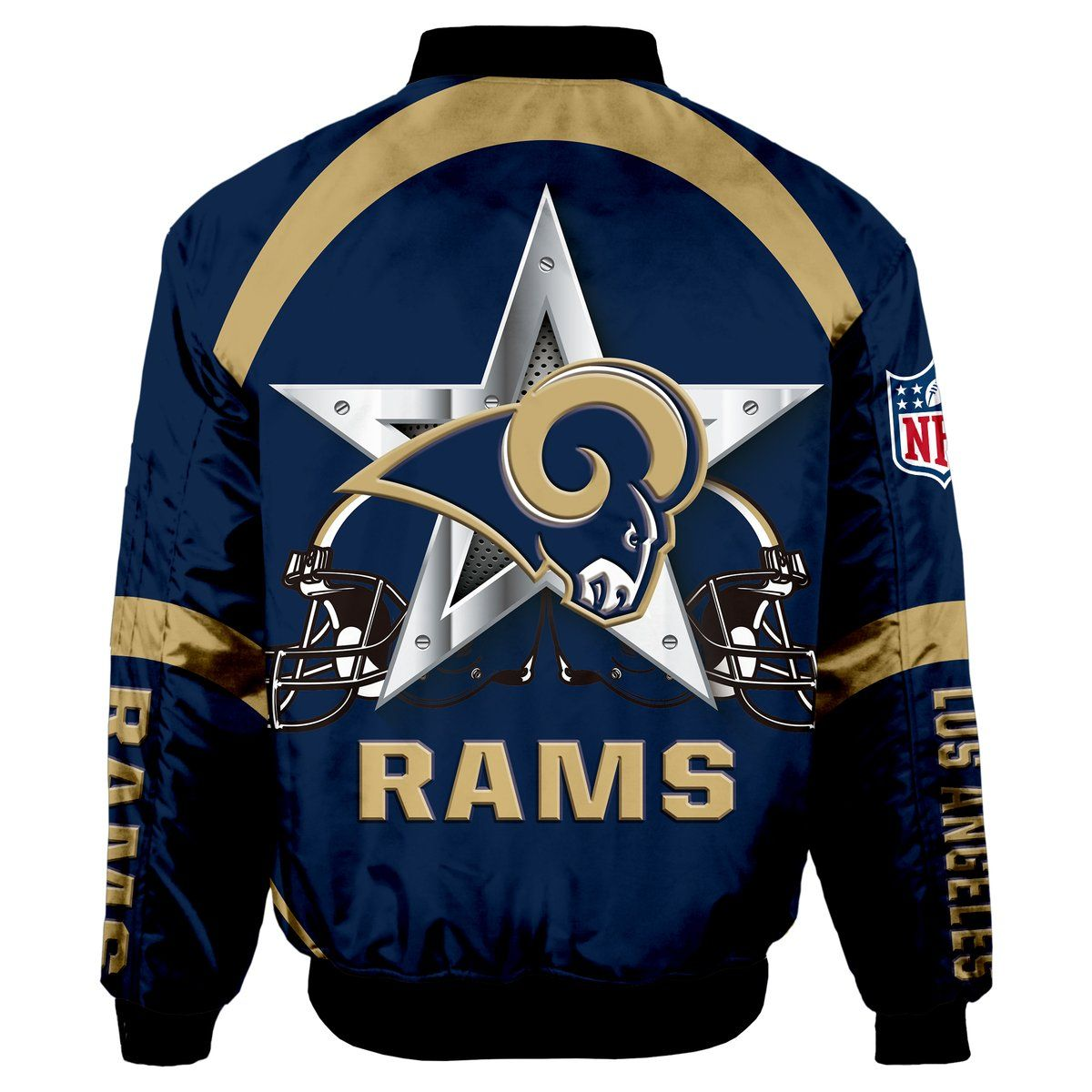 Los Angeles Rams Bomber Jacket Graphic Player Running In 2020 Bomber Jacket Jackets Types Of Sleeves