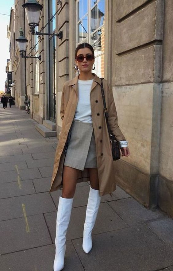 White boots and trench coat outfit idea