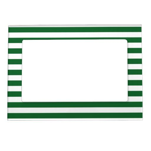 Green and White Stripes Magnetic Frame   Magnetic frames and Products