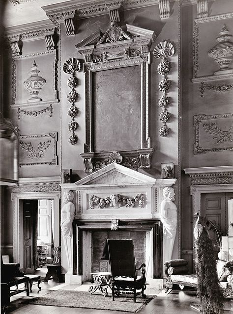 Hall chimneypiece at Rushbrooke Hall, Suffolk, England.  Late 16thC, demolished in 1962. Country Life Images: Pub Orig CL 17/10/1903. Image Number: 535180