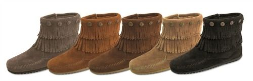 Minnetonka Double Fringe Side Zip Boot (Multiple Colors) $59.99 #SouthernFriedChics