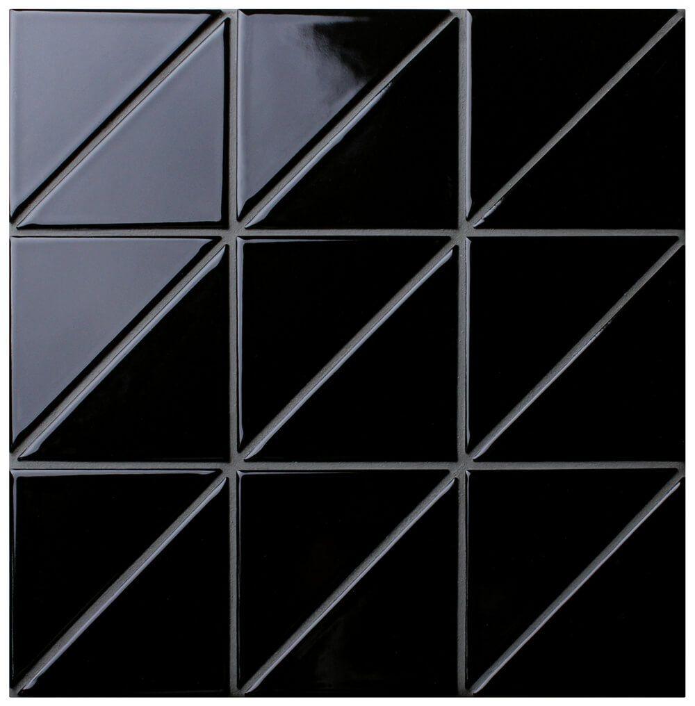 4 Linear Glossy Black Triangle Tile Pattern For Kitchen Wall Decor Tile Homedecor Interiordesignide Porcelain Mosaic Porcelain Mosaic Tile Mosaic Flooring