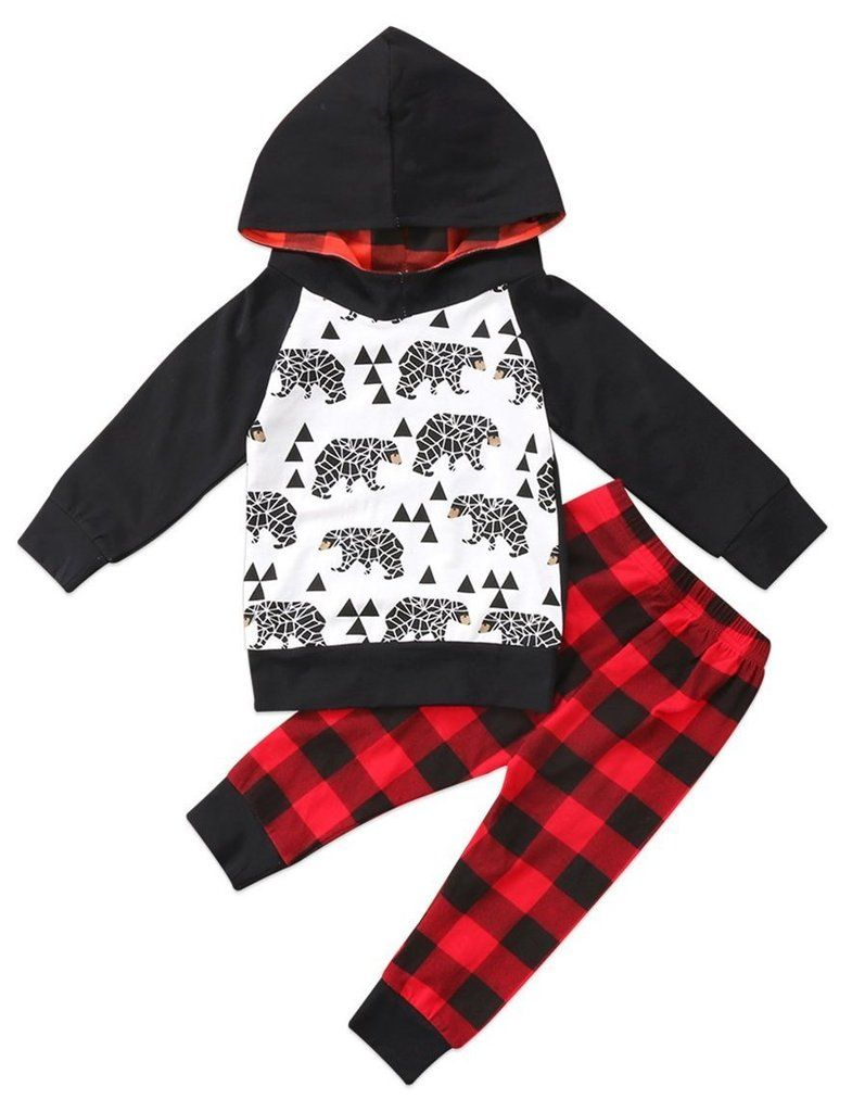 60cfcc01 Black Bear & Plaid Baby Boy Outfit | Stuff for mazen | Plaid hoodie ...