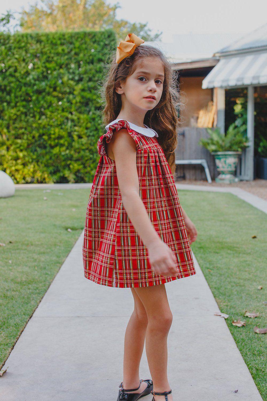 Girls christmas tartan plaid collar dress little girl