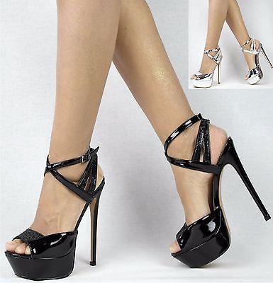 Trendy Stiefeletten Damen Schuhe High Heels 0665 Schwarz 36