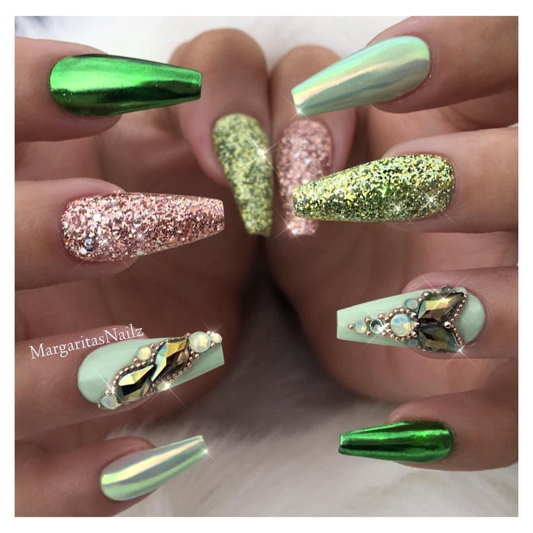 Green Chrome Coffin Nails Pastel Green And Glitter Nail Art Design