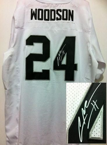 c7c35ceb6 ... Black Hoodie Nike Raiders 24 Charles Woodson White Mens Embroidered NFL  Elite Autographed Jersey