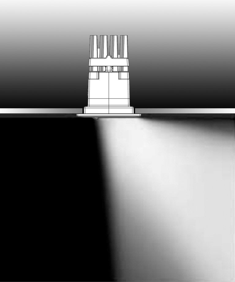 Vertical lighting shows the proportions and limits of ...