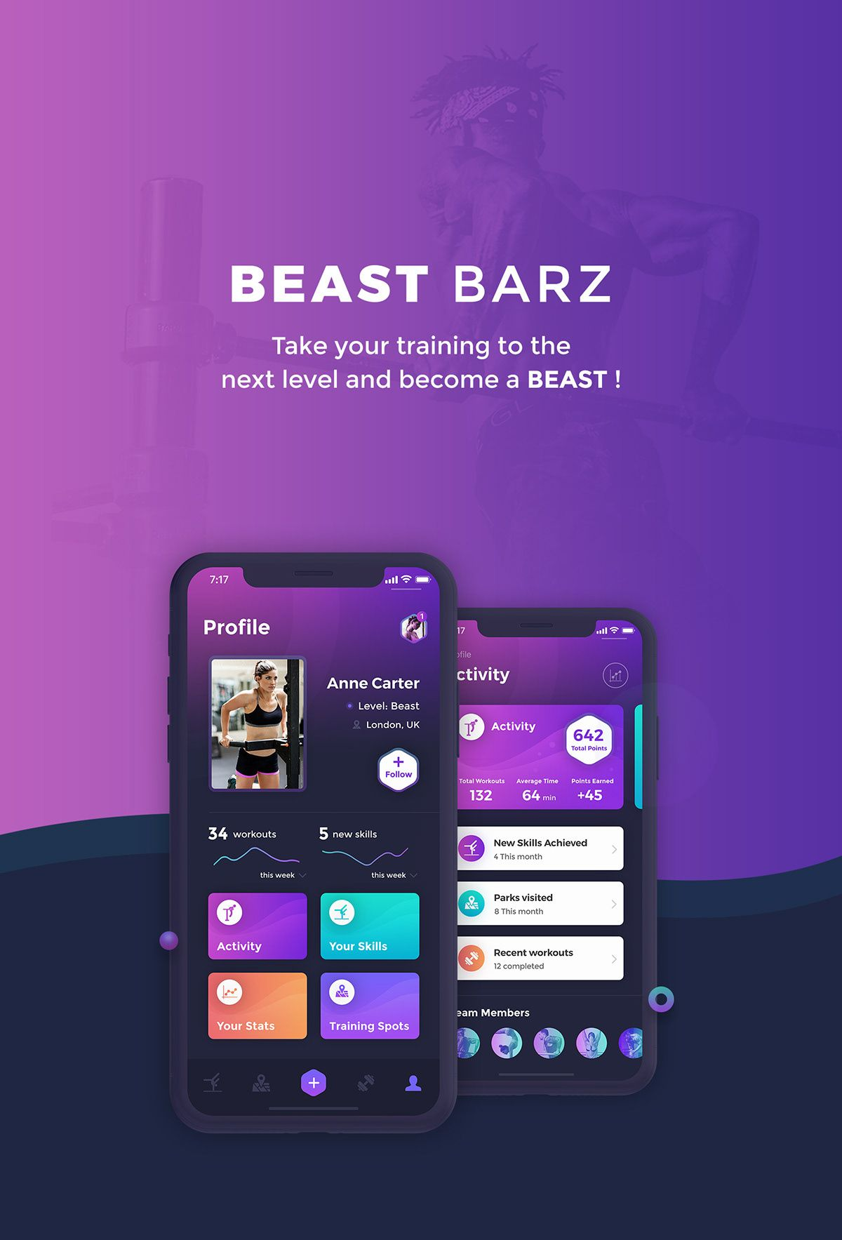 BEAST BARZ sport/fitness app on Behance Дизайн