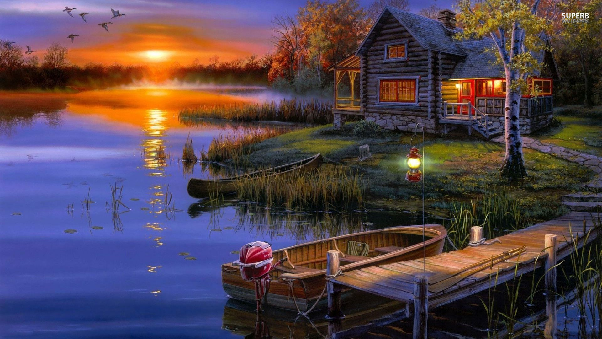 Autumn sunset at the lakeside house wallpaper - Fantasy wallpapers .