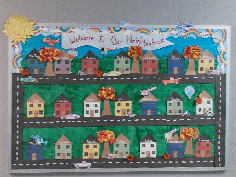 Classroom Unit Ideas : Fall bulletin board with transportation unit added