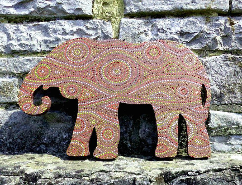 MDF African Painted Elephant Decor - photo#9