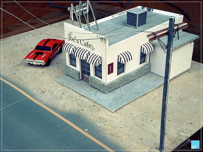 Free Scale Paper House Papermau: Joe's Cafe Building Papercraft For Diecast Diorama