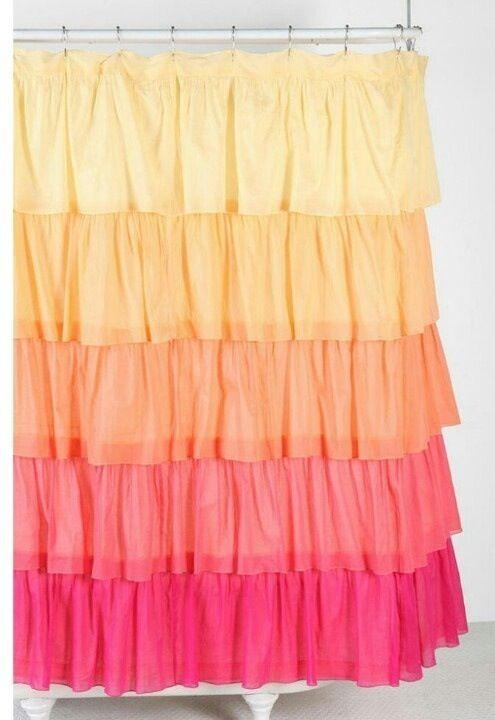 Yellow Orange Pink Ruffle Shower Curtain Ruffle Shower