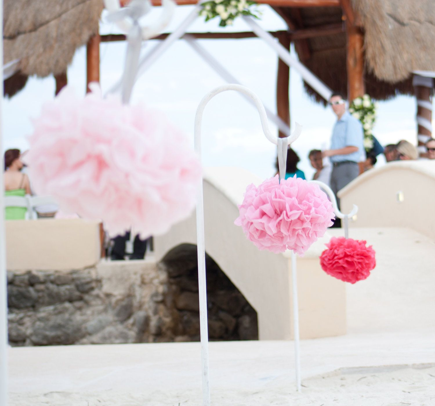 12 Tissue Paper Pom Pom Pew Decorations - Chair Decoration Kissing ...