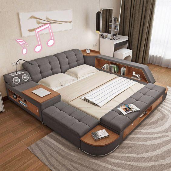 Tatami bed master bedroom modern and simple storage bed bed 1 8 meters of cloth bed sound - Bedroom storage function for bedroom storage solutions ...