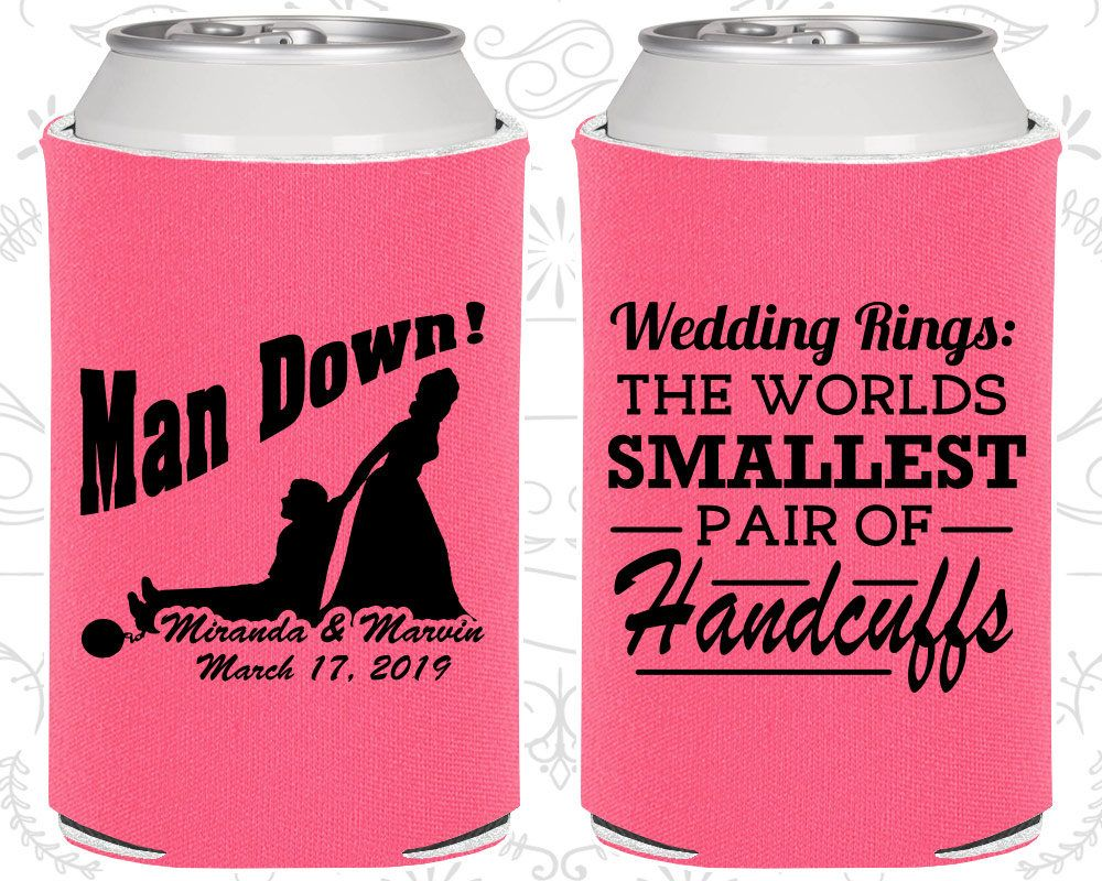 Wedding Favor Can Coolers, Man Down, Wedding Can Coolers ...
