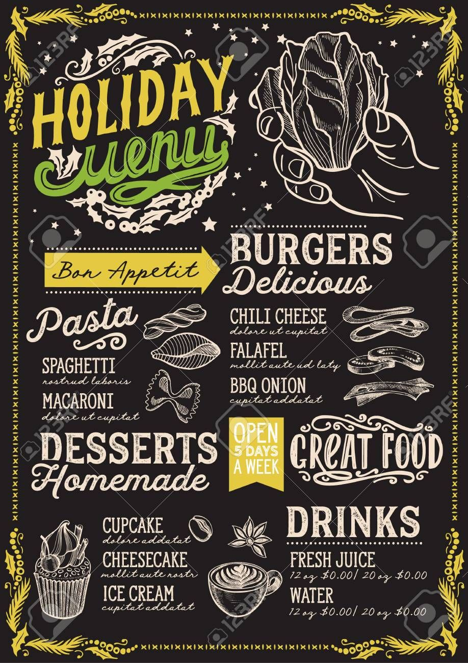 Christmas Menu Template For Vegetarian Restaurant And Cafe On A Blackboard Background Spon Template Vegeta In 2020 Christmas Menu Menu Template Food Menu Design