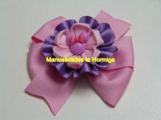 Manualidades y creaciones: Moño sencillo decorado con flores kanzashi y apliq...