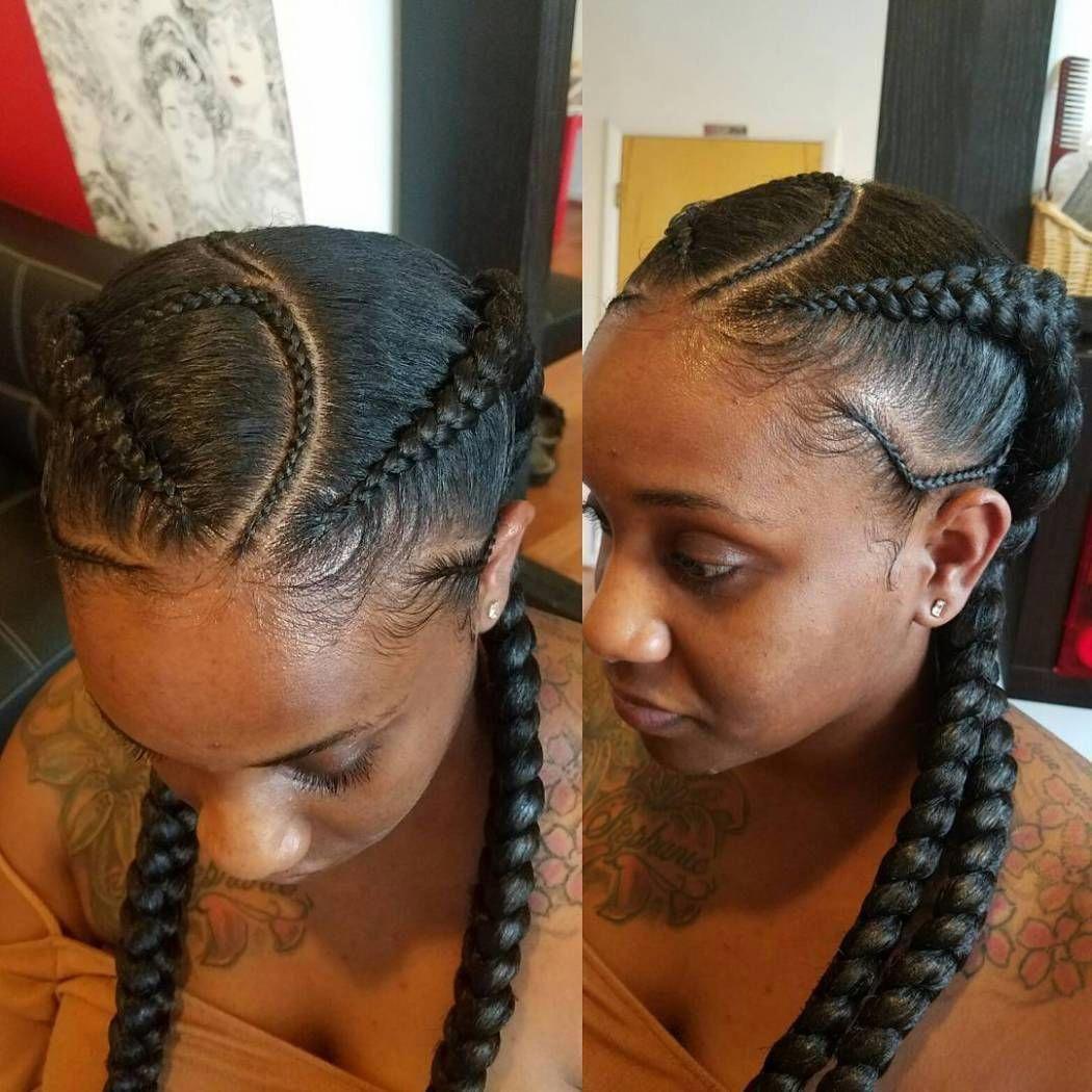Asymmetrical ghana braids braided hairstyles in pinterest