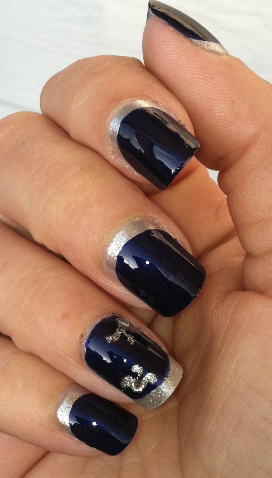 "New Year's Engagement Party! Navy, Blue, Silver, White and Black. Navy blue and silver ""ruffian"" manicure."