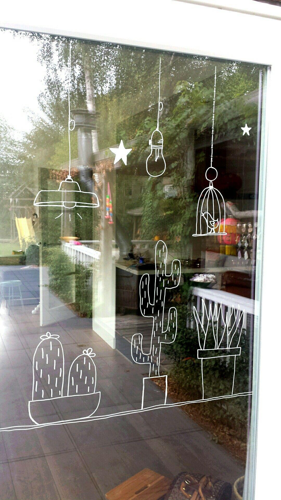 Pin Van Eva Anink Op Window Drawing Raam Kunst Krijtstift Muur Deco