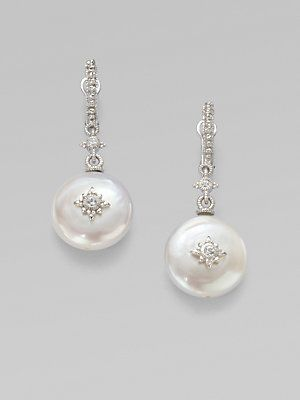 Judith Ripka White Shire Accented Pearl Drop Earrings