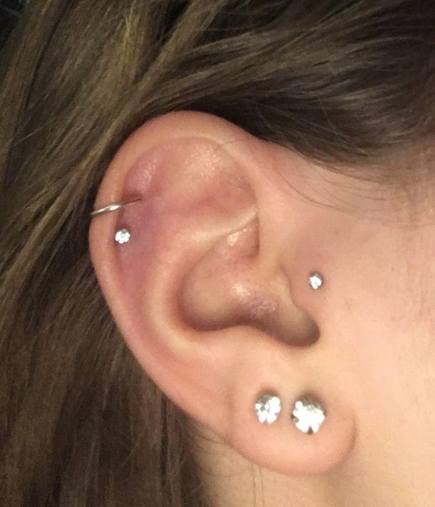 Double helix, lobe and tragus piercings :D   Ear piercings ...