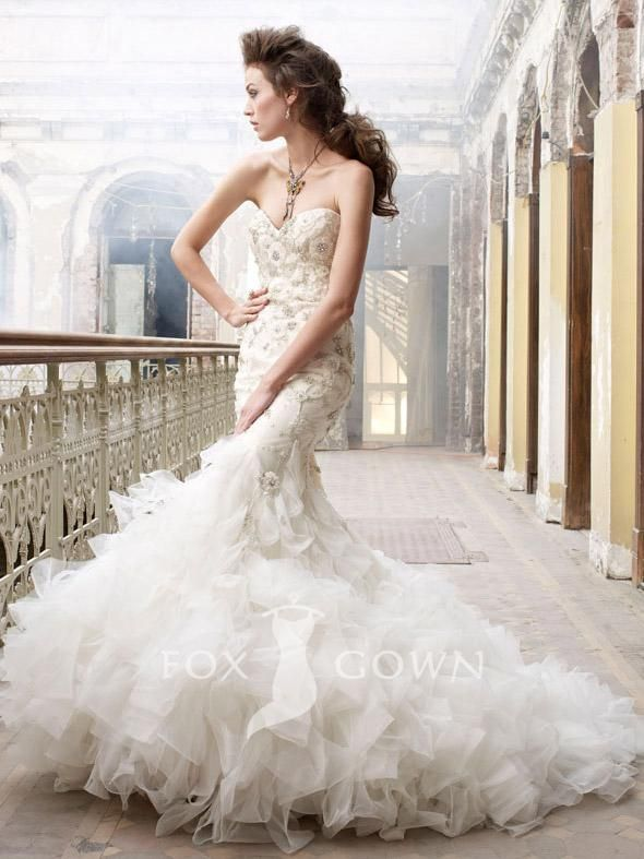 beaded and embroidered organza trumpet bridal gown with tufted ...