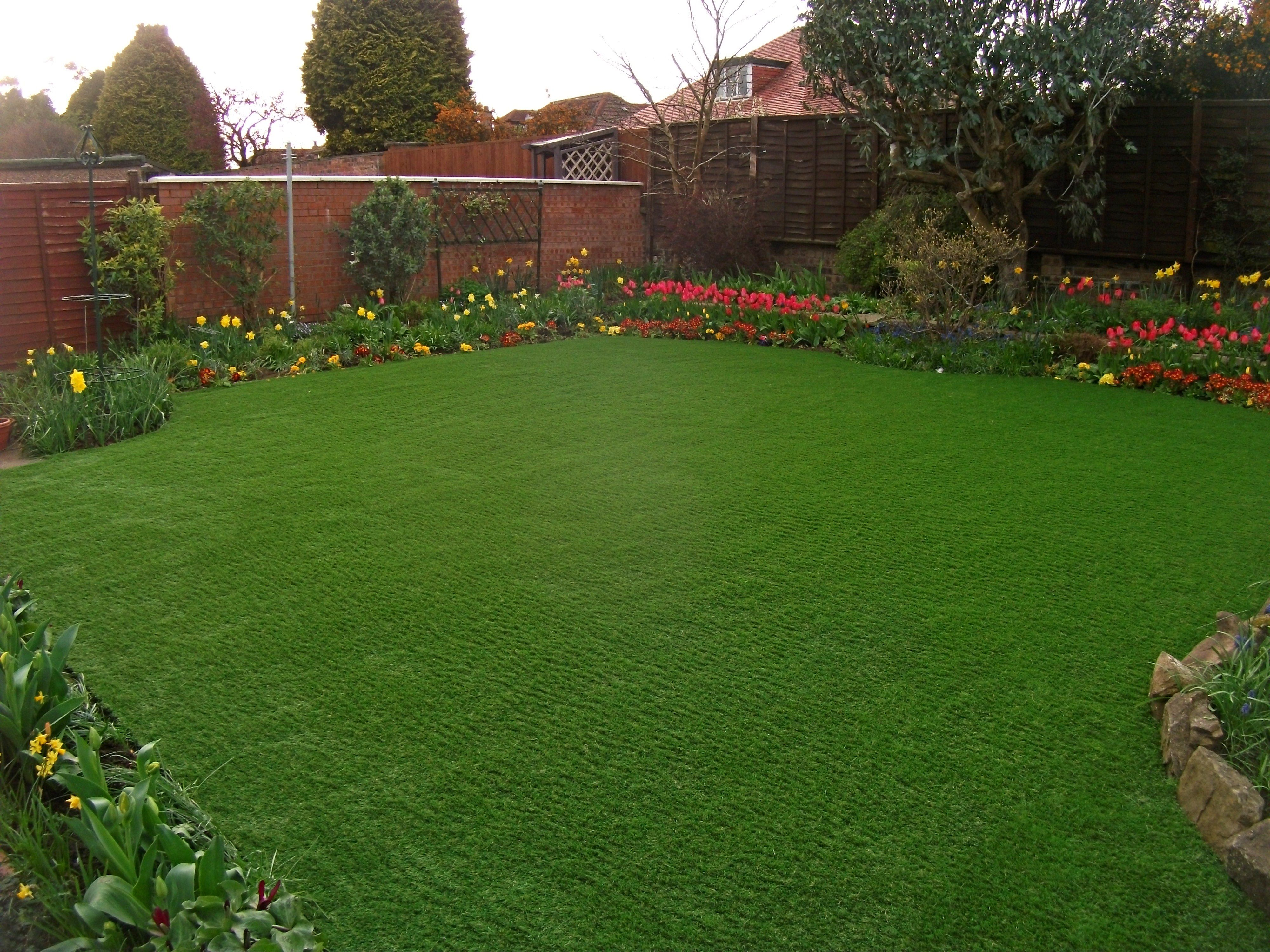 Beautiful back garden that has multiple examples of ...