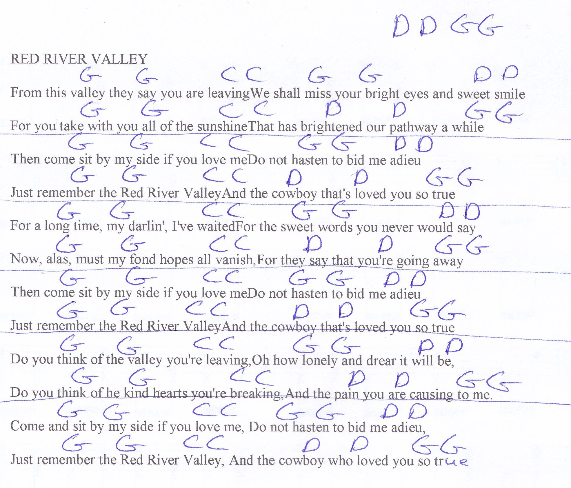 Red River Valley Guitar Chord Chart In G Guitar Lesson Chord