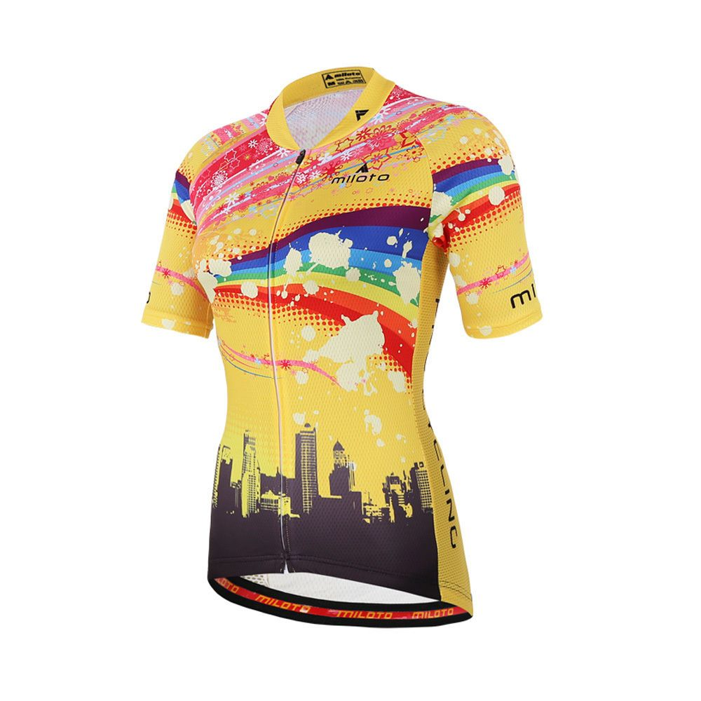 897a3d560 Reflective Cycling Jerseys Women Short Sleeve Bike Shirts Cycle Jersey    MTB Top Pink And Yellow