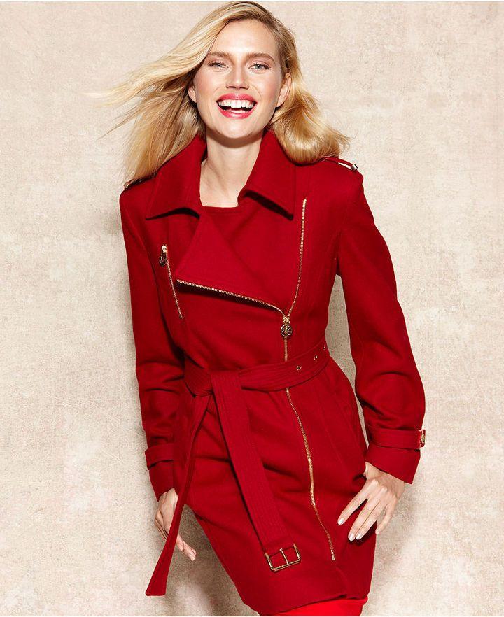 7aff110984d93a MICHAEL Michael Kors Asymmetrical Belted Walker Coat #michael #kors #red  #belted #jacket #coat #fashion #sale