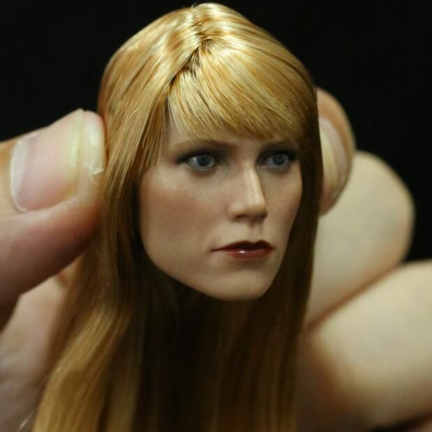 Custom 1 6 Scale Gwyneth Paltrow Pepper Potts Head Sculpt For Hot Toys Body Iron Man Girl Action Figures Hot Toys Female Head