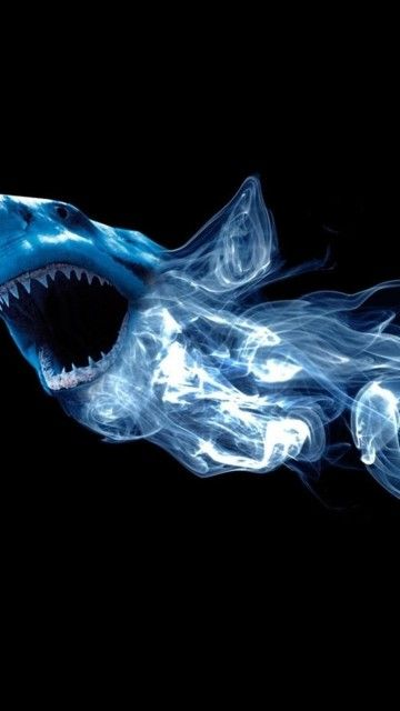 Abstract Shark Neon Light Smoke Android Wallpaper 360×640