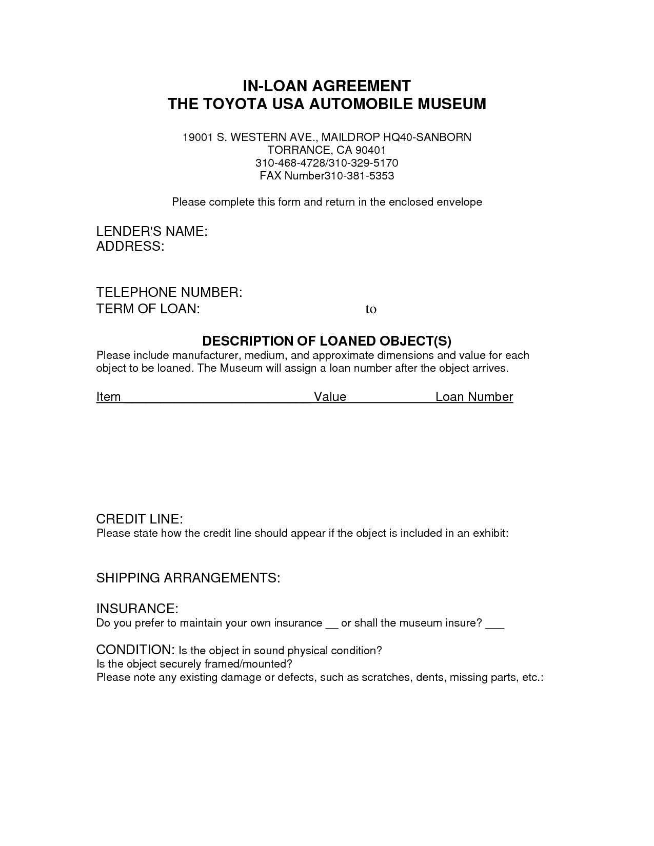 Printable Sample Loan Contract Template Form  Laywers Template