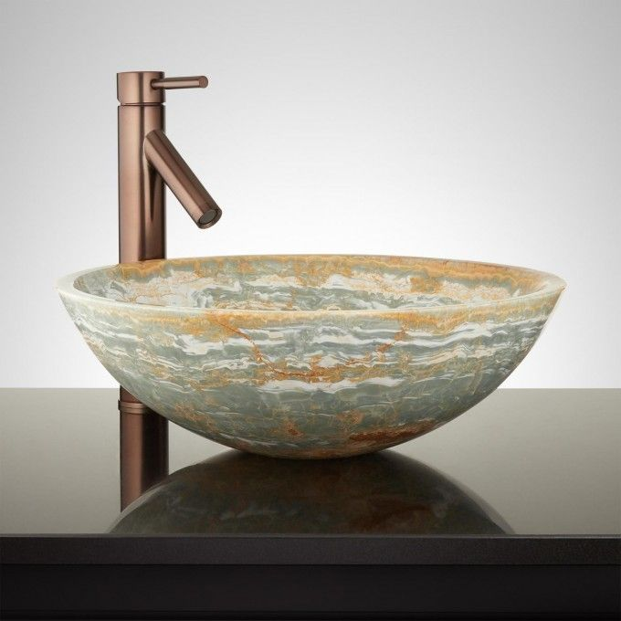 Langano Round Blue Onyx Vessel Sink - Vessel Sinks - Bathroom Sinks - Vessel Sinks Bathroom