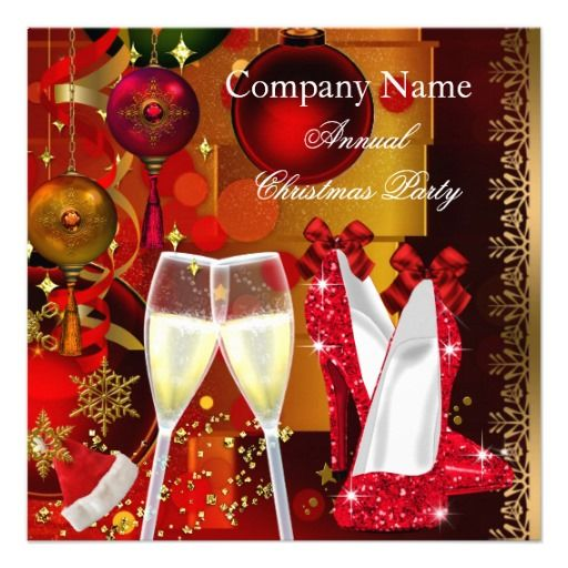 Corporate Holiday Christmas Party Red Gold Custom Invitation Personalized Invitations by Zizzago.com